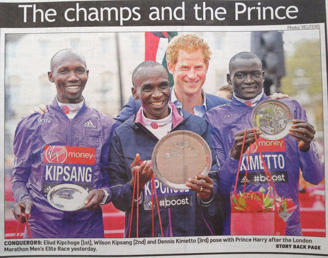 Kenyan marathon runners, marathon, British royalty, Prince Harry, London Marathon
