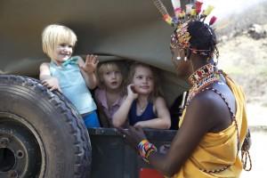 ©BBC. Sammy and the girls get ready to go sundowner hill.